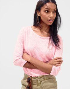 What we do at J.Crew: women's linen T-shirt in neon petal.
