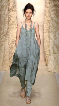 Shirley Ephraim for Donna Karan Long Draped Silk Crochet Chain Necklace in -Old Indigo- Runway