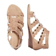 A sandal with some flare! These patent leatherlike sandals are in a neutral blush hue that goes with everything. With a little wedge, they're comfortable but with a heel. Regularly $19.99, shop Avon Fashion online at http://eseagren.avonrepresentative.com
