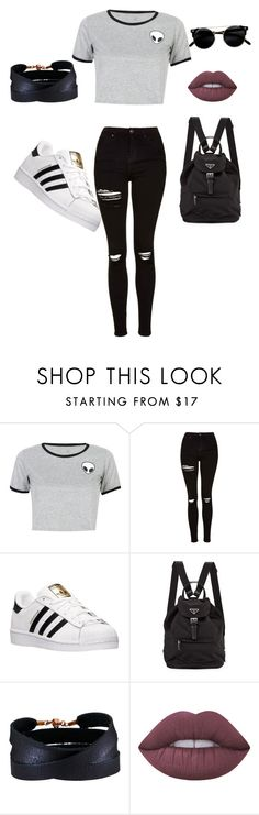 """"" by tiaremayer ❤ liked on Polyvore featuring WithChic, Topshop, adidas, Prada, She.Rise, Lime Crime and Denimondenim"