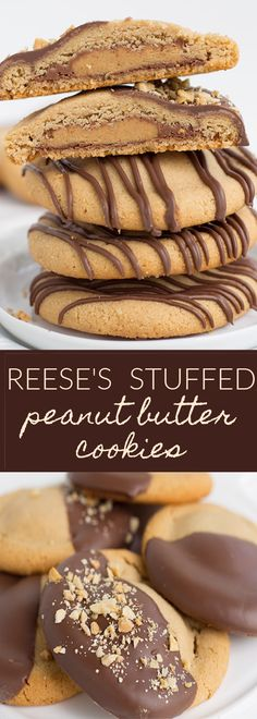 These over-the-top Reese's Stuffed Peanut Butter Cookies that are dipped in chocolate and sprinkled with peanuts. They are giant peanut butter cookies, fully loaded with peanut butter, and have a full-size Reese's cup in the center. What's not to love?! #peanutbutter #peanutbuttercups #cookies #peanutbuttercookies #chocolate #delicious