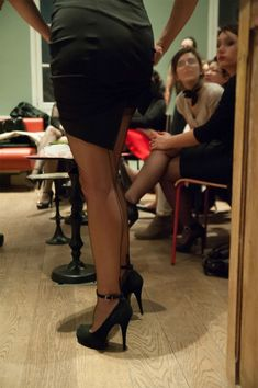Black Pencil Skirt Sheer Black Back Seam Stockings With Visible Garter Bumps and Black Ankle Strap High Heels