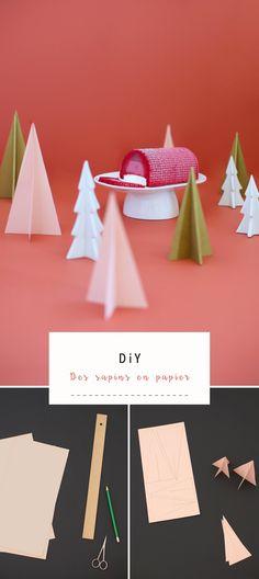 DiY: Décorer sa table de #Noel avec des #sapins en papier #NoelAuSommet