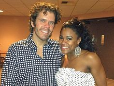Photo Op - Flashdance the Musical tour - Perez Hilton and DeQuina Moore at Segerstrom Center for the Arts. #FlashdanceOC