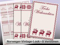 DIY Printable gift tag - Geschenk-Anhänger Norweger rot invers Vorlage