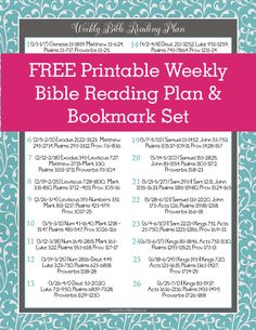 Free One Year Weekly Bible Reading Plan and Bookmarks! @onlyabreath