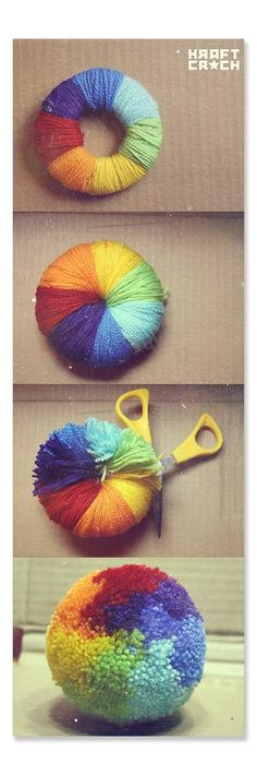 Sizlerle renkli ponpon yapımının en kolay yolunu paylaşıyorum.Hemen deneyin.. renkli ponğp