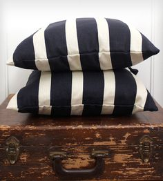 Nautical Pillow Cover - Navy & Beige by Lady Alamo