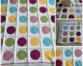 Crocheted Baby Blanket, Crochet Colorful Dots Baby Blanket, Baby Girl, Baby Boy, Shower Gift