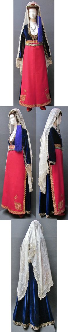 Traditional festive costume from the Olti/Oltu region (North of Erzurum province).  Armenian (well-to-do), early 20th century.  The woven belt attached to the apron bears the date '1903'. (Kavak Costume Collection - Antwerpen/Belgium).