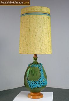 Blue and Green Large Cermaic Retro Lamp