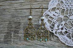 Bronze green turquoise rondelle beads bohemian boho gypsy