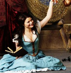 Emilie de Raven as Belle on Once Upon a Time. Her iconic blue dress as seen in the Disney Beauty and the Beast movie! Who else is a major book lover like Belle? I know I am. Would be such a fun Halloween costume - and so iconic.
