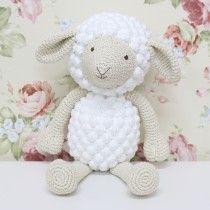 Enfeite para Quarto de Bebê  Ovelha Grande em Crochê Branco