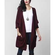Reborn Collection Plum Cable Knit Pocket Cardigan ($40) ❤ liked on Polyvore featuring tops, cardigans, cable knit cardigan, long length tops, long tops, stretch top and layered tops