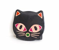 Vintage Leather Kitty Coin Purse