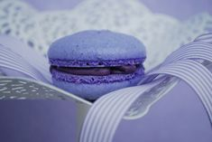 Macarons with blueberries and white chocolate