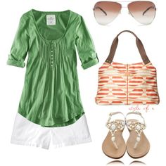 Summer Green and Orange by styleofe on Polyvore featuring H&M, Old Navy, Mystique, Orla Kiely, Maison Margiela, women's clothing, women's fashion, women, female and woman
