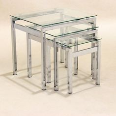 Contemporary Halo Glass Nest of Tables 3 Coffee Side/Lamp Table Set Living Room