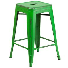 Distressed Green Stackable Metal Counter Height Stool with Drain Hole Seat