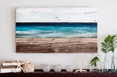 Ocean scene on reclaimed wood - love this! I also love to paint☺and already have lots of reclaimed wood. Pallet Crafts, Pallet Art, Wood Crafts, Reclaimed Wood Art, Reclaimed Wood Projects, Wood Artwork, Painting On Wood, Ocean Scenes, Beach Art