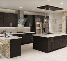 Dark Wood Kitchen Cabinets, Dark Wood Kitchens, Brown Kitchens, Dark Brown Cabinets, Backsplash With Dark Cabinets, Expresso Cabinets, Dark Kitchen Countertops, Stone Kitchen Island, Farmhouse Cabinets