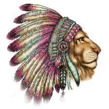 Resultado de imagem para tatuagem leão com cocar
