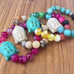 A personal favorite from my Etsy shop https://www.etsy.com/listing/272578170/buddha-bead-stacking-stretch-bracelet