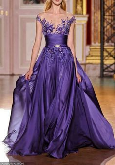 2015 2014 Dresses Zuhair Murad haute couture sexy v neck a line purple ruched appliques sleeveless evening dresses gown Purple Gowns, Purple Dress, Purple Lace, Blue Gown, Red Lace, Purple Flowers, White Dress, Beautiful Gowns, Beautiful Outfits