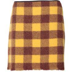 N° 21 Plaid Wool Cloth Mini Skirt ($160) ❤ liked on Polyvore featuring skirts, mini skirts, bottoms, multicolor, yellow plaid skirt, tartan miniskirts, plaid skirt, brown plaid mini skirt and short mini skirts
