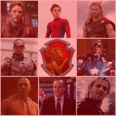 MCU Characters- Gryffindor. Marvel and Hogwarts. Peter Quill Starlord. Spider-Man Peter Parker. Thor. Falcon. War Machine. Drax. Agent Coulson. Quicksilver Pietro.