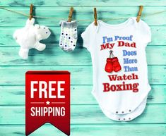 Father Boxing Baby Onesie Daddys Future Sparring Buddy Red Gloves Take Home Outfit Dad Boxer Pregnancy Announcement Family Shower Gift
