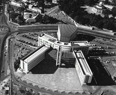 City Hall, Addis Ababa, Ethiopia, aerial view, ca. : Note: Saint Georgie's Cathedral at upper right. History Of Ethiopia, Addis Abeba, Human Fossils, Haile Selassie, African Nations, Abyssinian, African Countries, Aerial View, Homeland