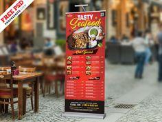 Outdoor Restaurant Food Menu Roll-up Banner PSD designed by PSD Freebies. Outdoor Restaurant, Restaurant Recipes, Restaurant Design, Food Menu Template, Banner Template, Standing Banner Design, Fb Banner, Best Fast Food, Best Banner Design