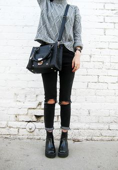#beauty #style #fashion #woman #clothes #outfit #wearable #casual #look #winter #fall #autumn #dark #ripped #jeans #gray #knitted #wool #sweater