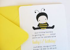 Bumble Bee Birthday Party Invitation by LittleMavens on Etsy, $2.00