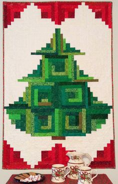 This is my newest pattern, Trim The Tree. I made it using my Log Cabin Trim Tools. www.jeanannquilts.com