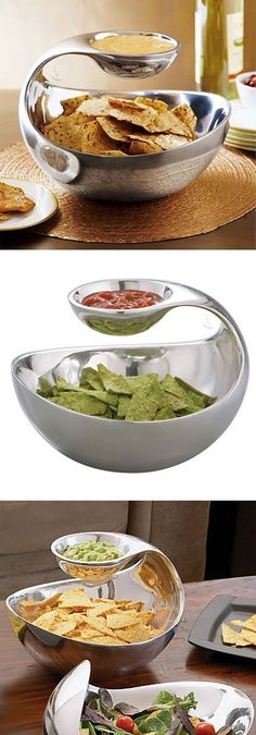Scoop // a chip bowl with floating dip server