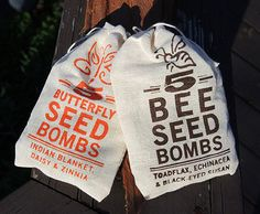 Practice random acts of gardening with these seed bombs! Five gumball-sized balls are packed into each 3 x 4 1/2-inch pouch, ready for gift-giving. We screenprint each pouch with the design. Inside each pouch is the full list of the seeds included. When you've used up the seed bombs, reuse the pouch or frame it!Save the bees! We developed the Bee seed bomb variety specifically to attracts bees to your garden with easy-to-grow flowers -- Toadflax (Baby Snapdragon), Echinacea and...