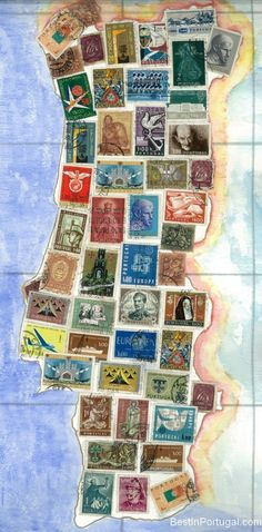 Selos, Portugal map made of a collage of postal stamps. Algarve, World History Lessons, Old Stamps, Postage Stamp Art, The Beautiful Country, Spain And Portugal, Cartography, Stamp Collecting, Mail Art