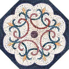 Floral Mosaic Pattern - Mosaic Patterns - Mosaic Designs - Geometric Mosaic Accent Tiles - Handmade Floor Mosaic | #Mozaico