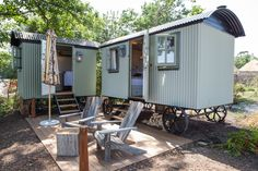These two shepherd huts at THE PIG-on the beach have stunning sea views. With a double bed and log burner in one hut, and a free standing bath in the other. There is joint decking between the two huts exclusive to the overnight guest