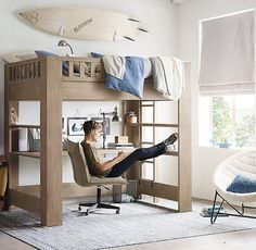 20 Awesome Boys Bedroom Ideas (with Simple Tips to Make Them Better) Jungenschlafzimmer mit Dachbode Bedroom Hacks, Bedroom Loft, Kids Bedroom, Bedroom Ideas, Loft Bed Desk, Bed Ideas, Desk Chair, Budget Bedroom, Bunk Bed With Desk