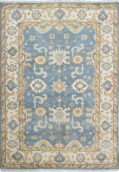 Royal Ushak Hand-Knotted Cream/Sky Blue Area Rug