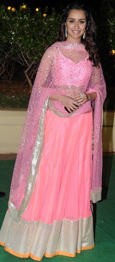 Shradhha Kapoor Pink bollywood replica lehenga choli in net and satin Indian Celebrities, Bollywood Celebrities, Bollywood Fashion, Bollywood Actress, Bollywood Style, Celebrity Style Casual, Celebrity Dresses, India Fashion, Asian Fashion