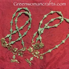 Hare and Ivy leaf necklaces made for a commission - order direct from me at raven@greenwomancrafts.com