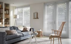 Scandi living room with occasional chair and Luxaflex Venetian blinds. Ikea Interior, Interior Design, Stylish Interior, Scandi Living Room, Custom Made Curtains, Interior Wallpaper, Living Comedor, Curtains With Blinds, Living Room Modern