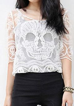 Skull Embroidered Lace Tee