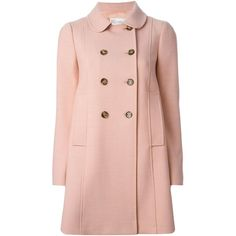 Red Valentino Double Breasted Coat ($1,024) ❤ liked on Polyvore featuring outerwear, coats, jackets, valentino, pink double breasted coat, red valentino coat, pink coat, double-breasted coats and red valentino