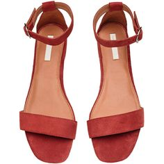 Suede Sandals $49.99 (490 MAD) ❤ liked on Polyvore featuring shoes, sandals, suede leather shoes, suede sandals, ankle strap sandals, red suede shoes and rubber sole sandals